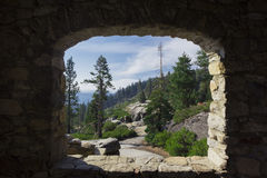 View of Yosemite forest through window Stock Image