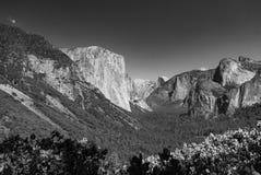A view through Yosemite National Park, along the main valley towatds El Capitan stock photography