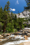 View of Yosemite National Park from Mist Trail and John Muir Trail, Royalty Free Stock Images