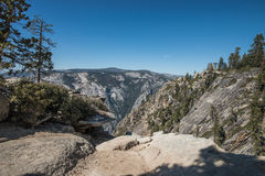 View of Yosemite Valley from Taft Point, Yosemite National Park. Yosemite National Park is in California's Sierra Nevada mountains. It's famed for its giant Royalty Free Stock Photos