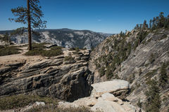 View of Yosemite Valley from Taft Point, Yosemite National Park. Yosemite National Park is in California's Sierra Nevada mountains. It's famed for its giant Stock Photo