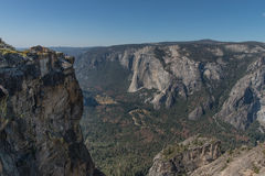 View of Yosemite Valley from Taft Point, Yosemite National Park. Yosemite National Park is in California's Sierra Nevada mountains. It's famed for its giant Royalty Free Stock Image