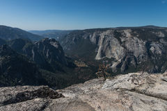 View of Yosemite Valley from Taft Point, Yosemite National Park. Yosemite National Park is in California's Sierra Nevada mountains. It's famed for its giant Stock Photography