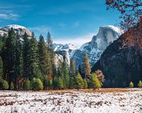 View of Yosemite Valley at winter with Half Dome - Yosemite National Park, California, USA royalty free stock photography