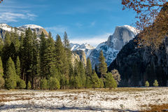 View of Yosemite Valley at winter with Half Dome - Yosemite National Park, California, USA Stock Photos