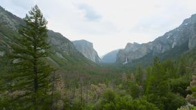 View of Yosemite valley in Yosemite National Park stock footage