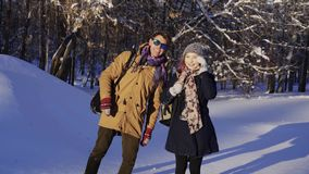 View of a young attractive tourist in winter stock video