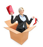 A view of a young attractive woman in a box Royalty Free Stock Photo