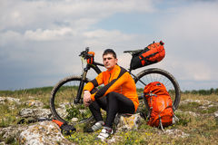 View of a Young Man With Bicycle on Summer Background. Stock Photos