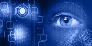View of a young women eye on technology background Stock Photography