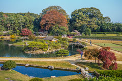 View from Yuishinzan Hill at Korakue-en garden in Okayama Stock Image