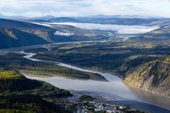 View of Yukon and Klondike River over Dawson City, Yukon, Canada royalty free stock photography