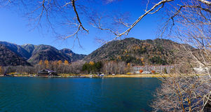 View of Yumoto lake with many luxury hotels in Kyoto, Japan Royalty Free Stock Photos