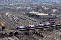 View of Zürich`s main station and railway-system with trains go. Panoramic view of the city of Zürich, the main station und railway-system from the future stock photo
