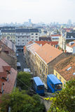 View on Zagreb's funicular from the old upper city Royalty Free Stock Image