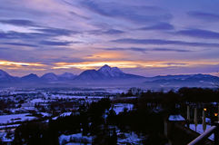 View of Zalzburg and The Alps from Kapuzinerberg Royalty Free Stock Image