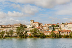 View of Zamora on the banks of  Duero river on a sunny day, Spai Stock Photo