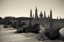 View of Zaragoza. Imitation of vintage image Royalty Free Stock Photo