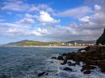 View on Zarautz, Pais Basco, from the scenic coastal road, pilgrimage route Saint James Way, Northern coast of Spain. View on Zarautz, Basque Country, from the royalty free stock photo