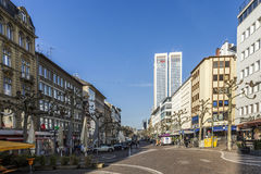 View of Zeil in early morning in Frankfurt Stock Images