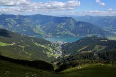 View of Zell am See from above. View of Zell am See from the Austrian Alps Royalty Free Stock Image