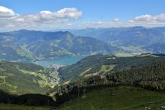 View of Zell am See from above. View of Zell am See from the Austrian Alps Stock Images