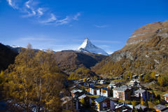 View of Zermatt town and Matterhorn peak Royalty Free Stock Image