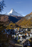 View of Zermatt town and Matterhorn peak Stock Photography