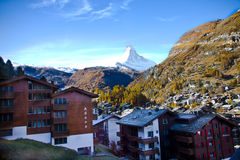 View of Zermatt town and Matterhorn peak Stock Image