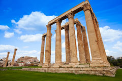 View of Zeus temple on green grass in Athens Royalty Free Stock Photo