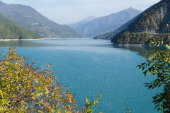 View of the Zhinvali reservoir on the Aragvi river near the village of Ananuri. September Stock Photo