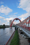 View of Zhivopisny Bridge and Moscow river. Zhivopisny Bridge (The bridge in Silver pine forest) — the cable-stayed bridge through the Moskva River, is located Royalty Free Stock Image