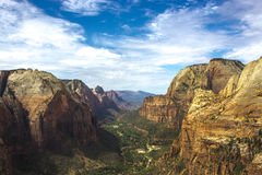 View of Zion National Park from Angels Landing Royalty Free Stock Photo