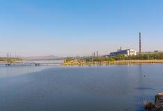 View Zuevsky reservoir in the Donetsk region Stock Photo