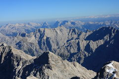 View from Zugspitze. View from the top of Zugspitze, Germany's highest mountain Stock Photography