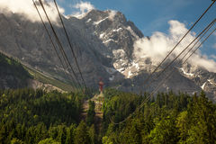 View of Zugspitze from Eibsee cable car station, Germany. Royalty Free Stock Images