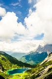 View on Zugspitze mountain from lake Seeben Royalty Free Stock Photography