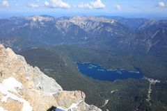 View from Zugspitze Mountain to Eibsee Stock Photography