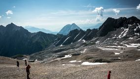 View from the Zugspitze peak time-lapse stock footage
