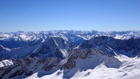 View from the Zugspitze to the alps. View from the Zugspitze, Germany`s highest mountain of the Alps stock video