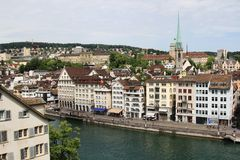 Cityscape of Zurich and river Limmat, Switzerland. View of Zurich city center and river Limmat, Switzerland Stock Photography