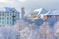 View in Zurich on a foggy winter morning Stock Image