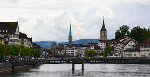 View of Zurich with Limmat river. Royalty Free Stock Images