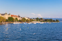 View of Zurich old Town, the lake and the alps before sunset Stock Image
