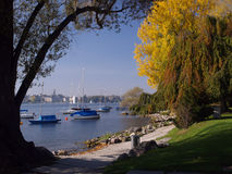 View of Zurich over the Lake. To the old town Royalty Free Stock Image