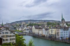 View of Zurich. Panorama of Zurich. Street photo. stock photos