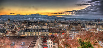 View of Zurich on a winter evening Royalty Free Stock Photos