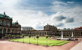 View of Zwinger square from steps of Old Masters Picture Gallery towards French and Rampant pavilions at Dresden, Saxony, Germany stock photo