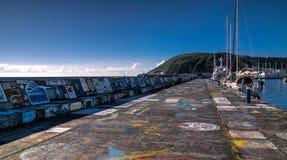 Viewe στην αποβάθρα Horta στο λιμάνι Νησί Faial, Αζόρες, Πορτογαλία στοκ εικόνα με δικαίωμα ελεύθερης χρήσης