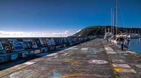 Viewe στην αποβάθρα Horta στο λιμάνι Νησί Faial, Αζόρες, Πορτογαλία στοκ φωτογραφία